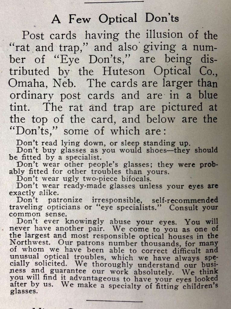 Optical Don'ts, 1908